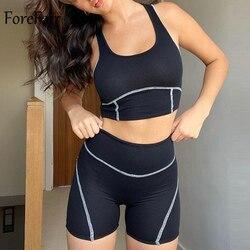 Forefair sportwear agasalho feminino shorts preto combinando sem mangas tanque de colheita topos jogging ternos duas peças conjunto