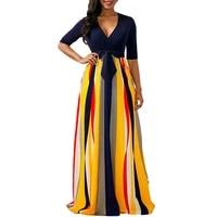 fashion multicolor striped robe sexy deep v neck low cut half sleeve high waist bow maxi dresses high street club party dresses