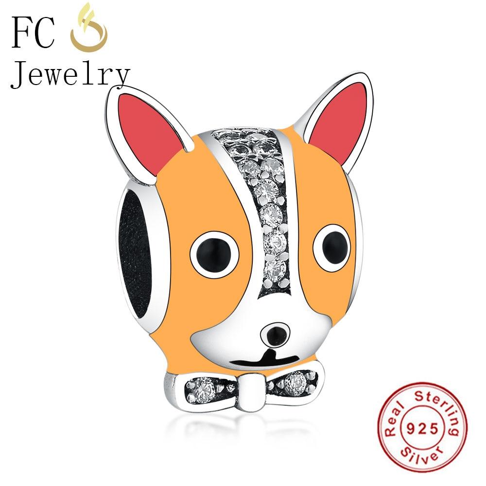 FC Jewelry Fit Original Pandora Charm Bracelet 925 Sterling Silver Enamel French Bulldog Dog Pet With Bow Zircon Beads Berloque