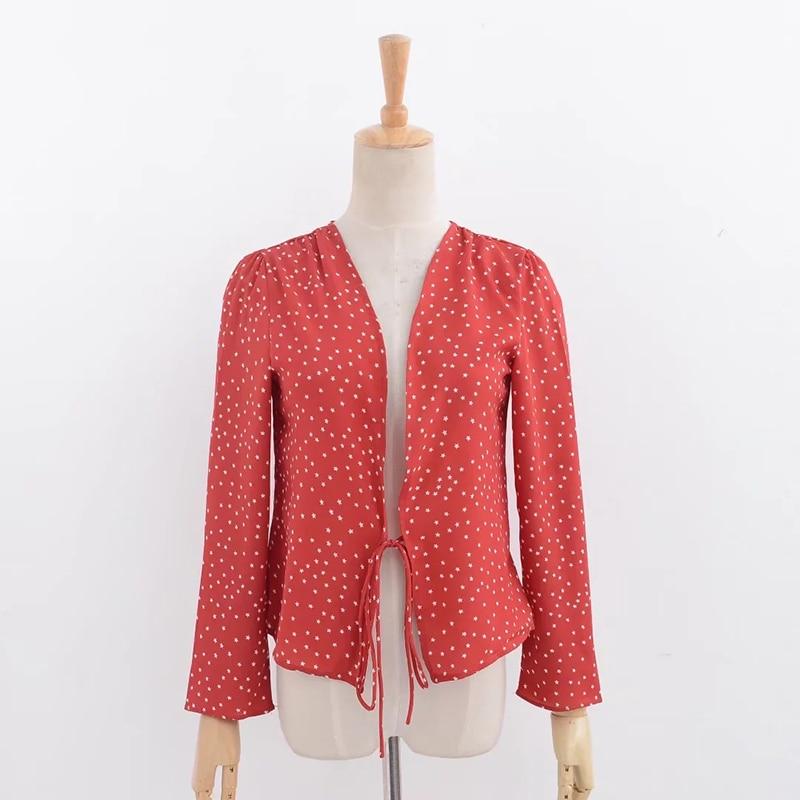Короткий топ, женские шифоновые блузки 2020, осенние красные с принтом звезд и длинным рукавом, кимоно, кардиган, blusas, летние топы, рубашки