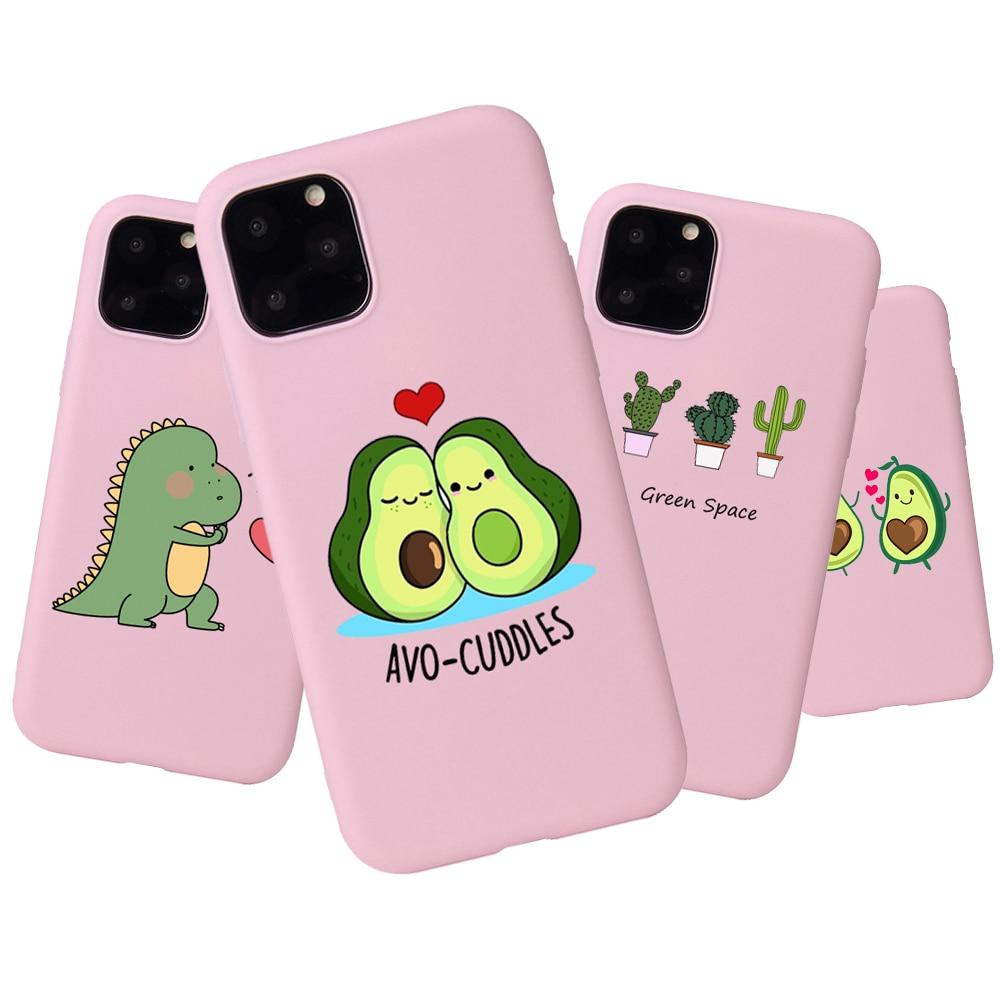 Funda de TPU suave rosa para iphone 8, funda de teléfono para Apple iPhone 6 6s 7 8 Plus X XS 11 Pro Max, carcasa de diseño bonito