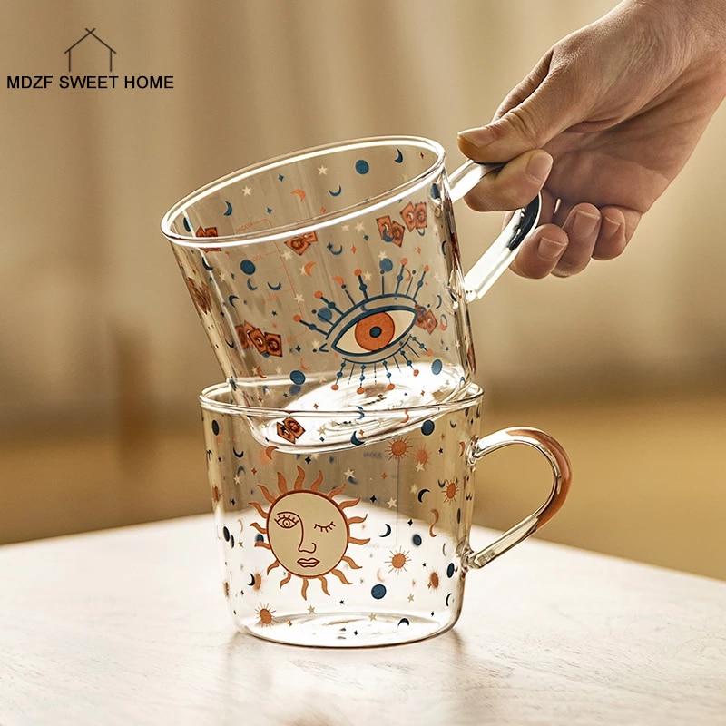 MDZF SWEETHOME-taza de cristal con diseño de ojo de Sol para el hogar, taza de café con diseño creativo, Mlik, 500ml