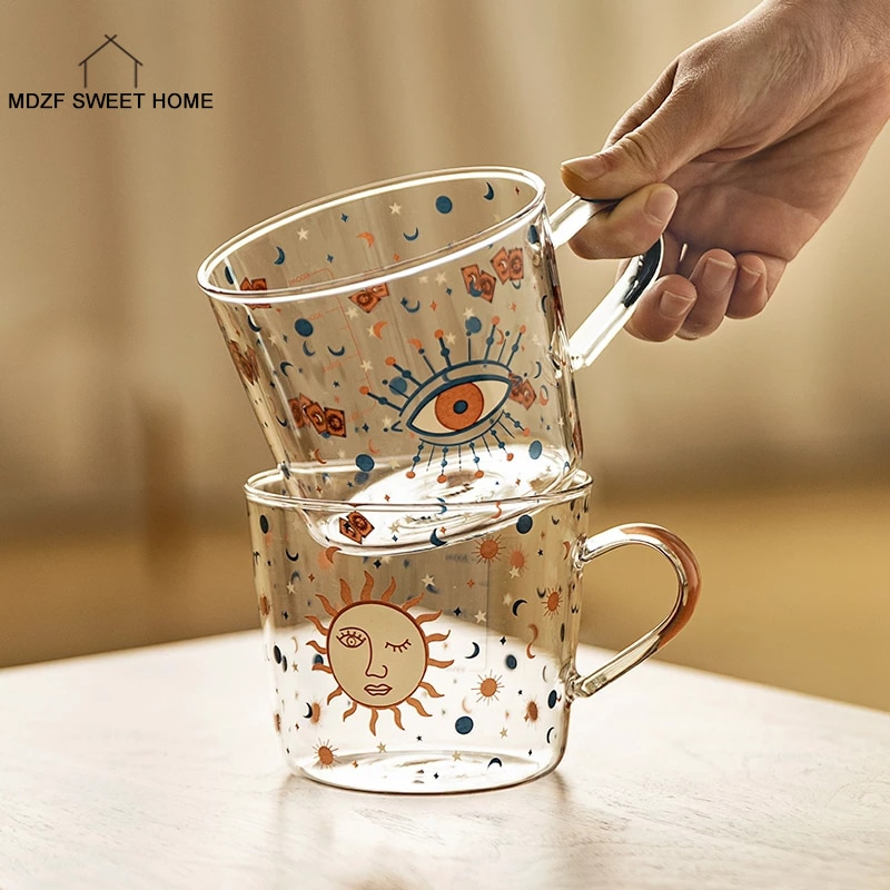 MDZF SWEETHOME 500ml Creative Scale Glass Mug Breakfast Mlik Coffe Cup Household Couple Water Cup Sun Eye Pattern Drinkware