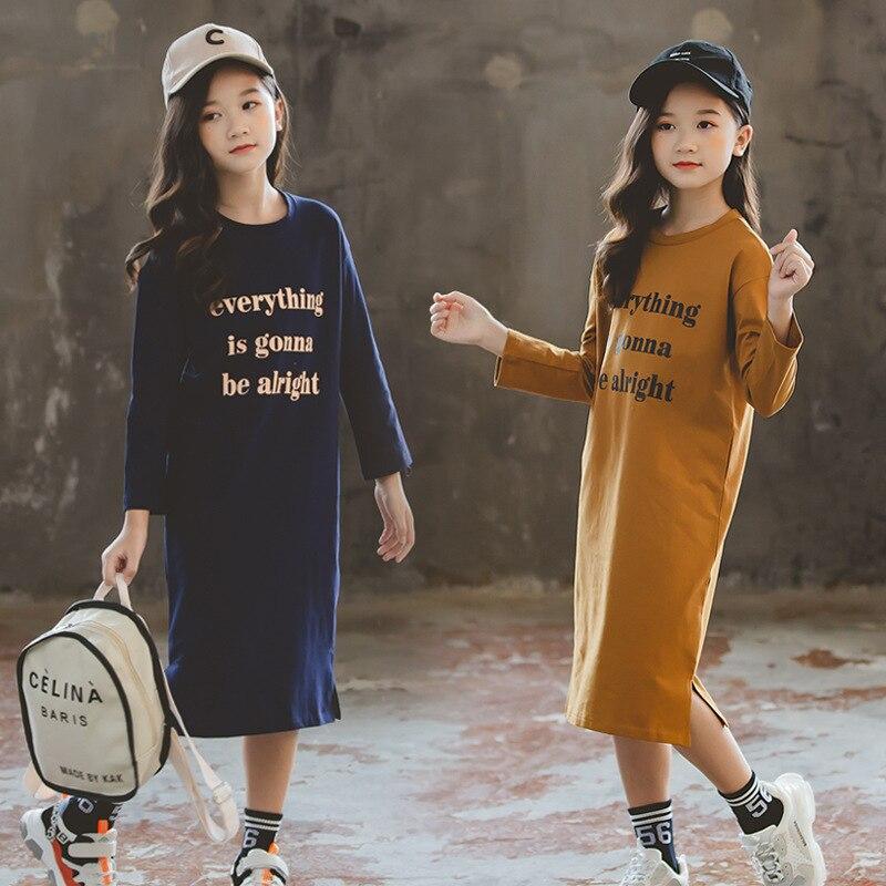 Nuevo vestido de camisa para niñas, vestido de otoño 2020 de algodón con estampado de letras para niños, vestido de princesa para niñas, ropa para mamá y yo #5158