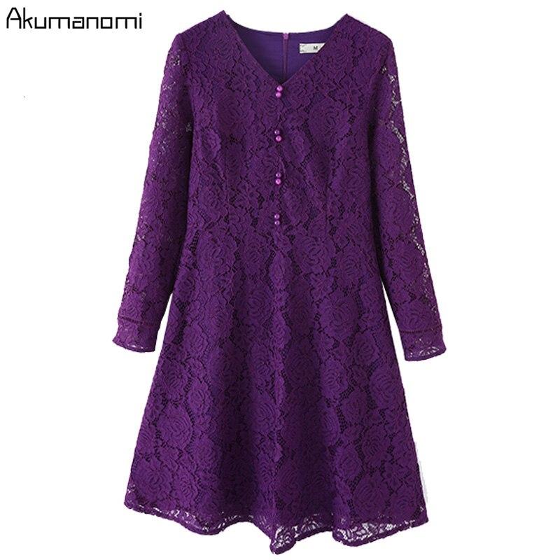 De talla grande 5XL otoño primavera púrpura Vestido de encaje mujeres cuello en V encaje manga larga Casual elegante Vestido de fiesta de oficina Vestido Robe Femme