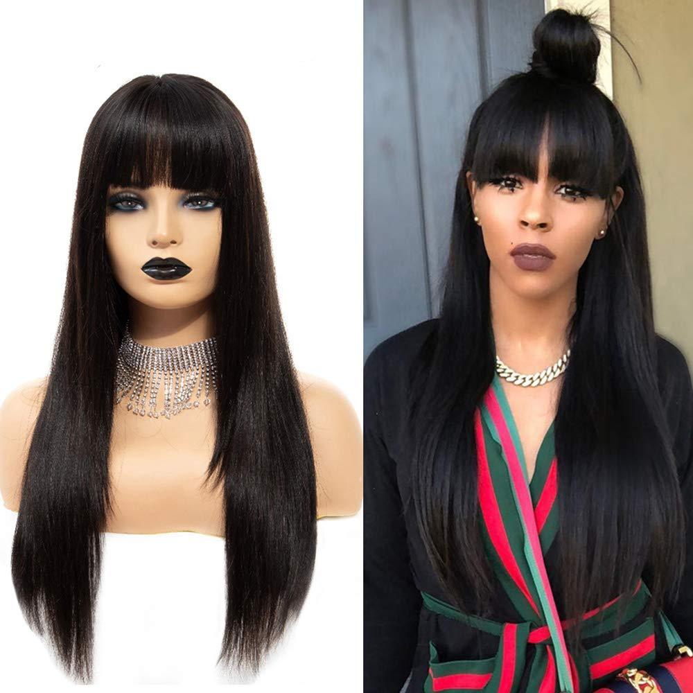 DLME الأسود الاصطناعية الدانتيل شعر مستعار أمامي للنساء السود مقاومة للحرارة شعر طويل شعر مستعار أسود اللون مع الانفجارات