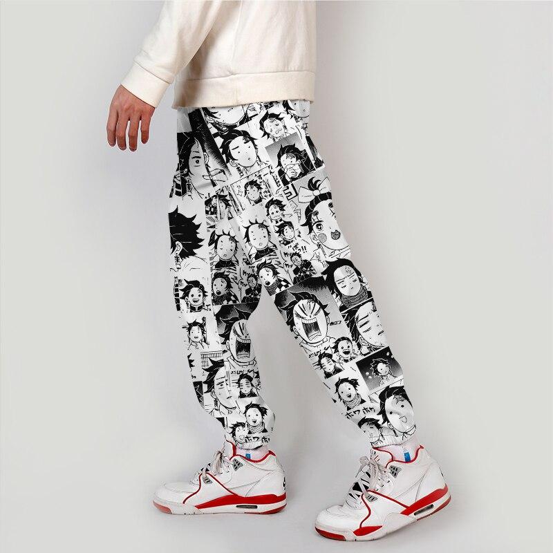 Одежда в стиле аниме, штаны-карго с демоном, свободные уличные штаны-шаровары с эластичной резинкой на талии, мужские повседневные штаны 6XL