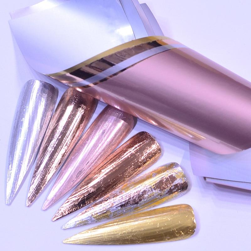 5 unidades/pacote ouro rosa holográfico unhas folhas céu estrelado brilho transferência de arte do prego adesivos de papel dicas da arte do prego