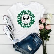 Women Witch Fashion Skull Horror Funny Coffee Womens Cute T  Halloween Top Graphic Tee Shirt Ladies Tshirt Female T-shirt