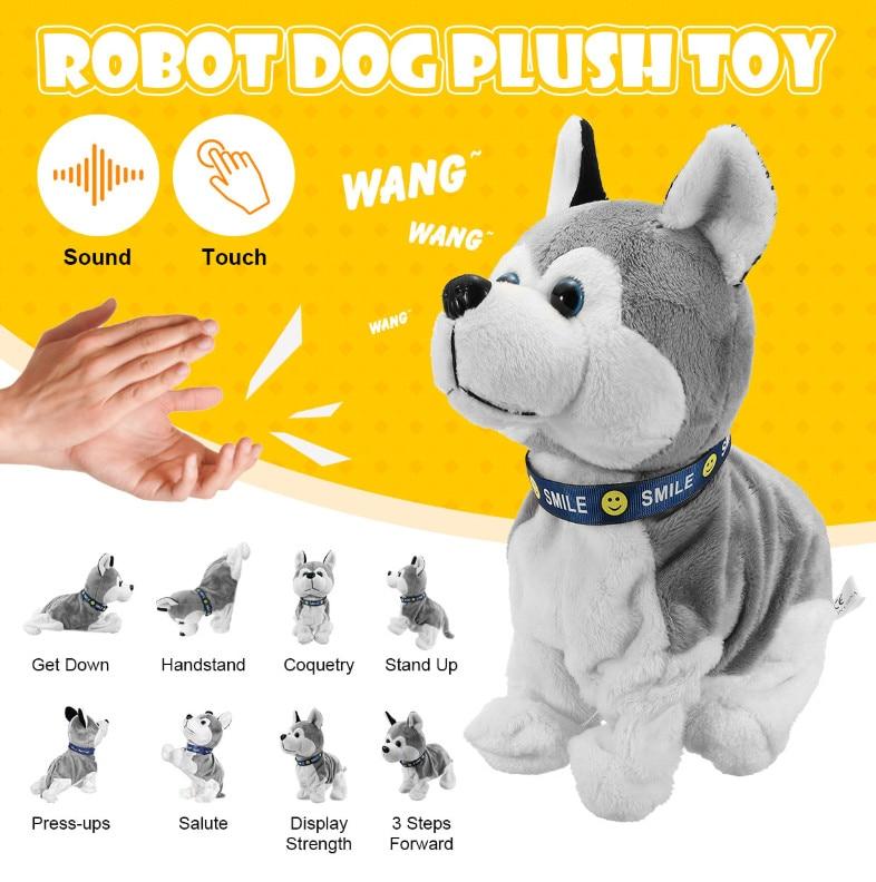 التحكم الصوتي الإلكترونية التفاعلية الكلاب لعبة روبوت جرو الحيوانات الأليفة النباح الوقوف المشي 8 حركات ألعاب من القطيفة للأطفال هدايا