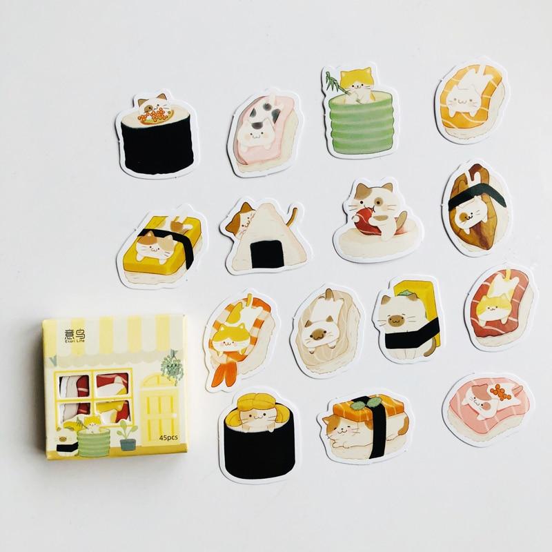 45-pz-pacco-kawaii-gatto-amore-sushi-cibo-carta-adesivi-decorativi-stick-etichetta