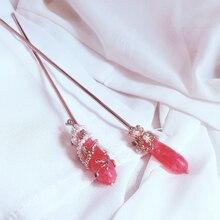 Morkopela Rosa Stein Mädchen Haar Stick Süßwasser Perlen Handgemachte Haarnadel Zubehör Für Frauen Hochzeit Graceful Haar Schmuck