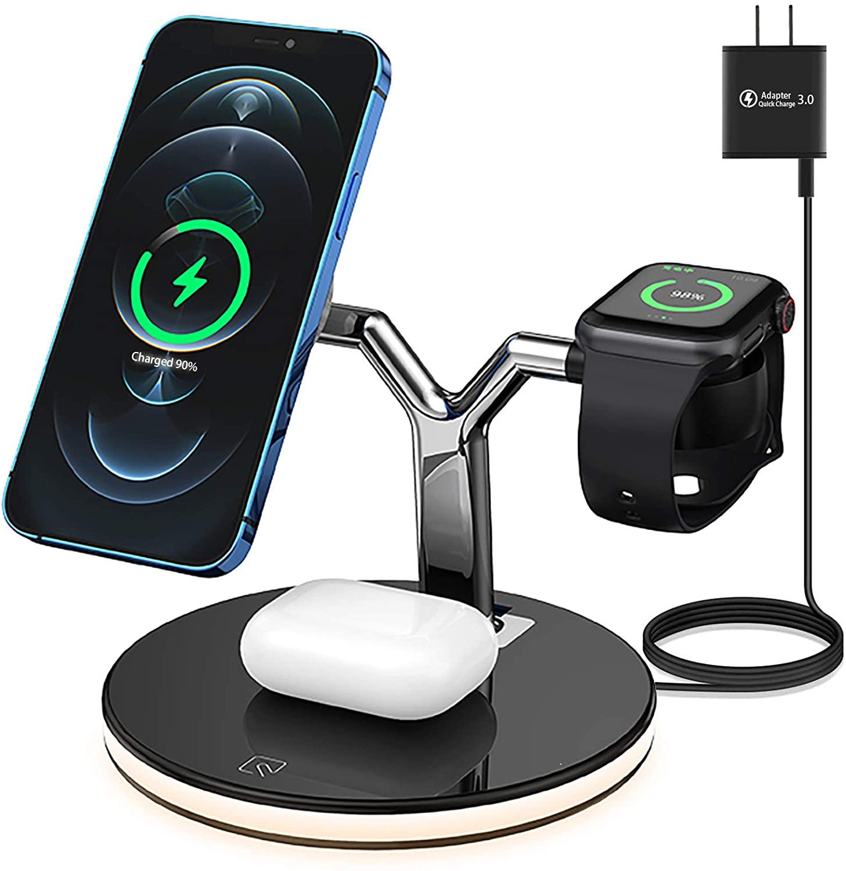 شاحن لاسلكي سريع للهاتف المحمول ، شاحن لاسلكي سريع 25 وات 3 في 1 مع مغناطيس Qi لـ Iphone 12 Mini Pro MAX ، لـ Apple Watch 6 5 4 3 2 1 AirPods Pro