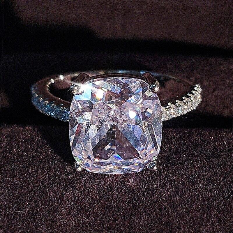 Original coxim corte real 925 prata esterlina anel dedo para mulheres jóias de luxo casamento noivado personalizado r1953