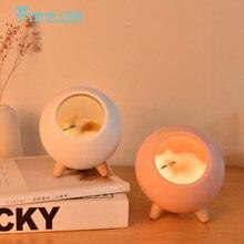 Free_on, lámpara de luz nocturna LED con atenuación táctil para casa de gato bonita para niños, dormitorio, cabecera, Decoración, regalo creativo, lámpara de mesa