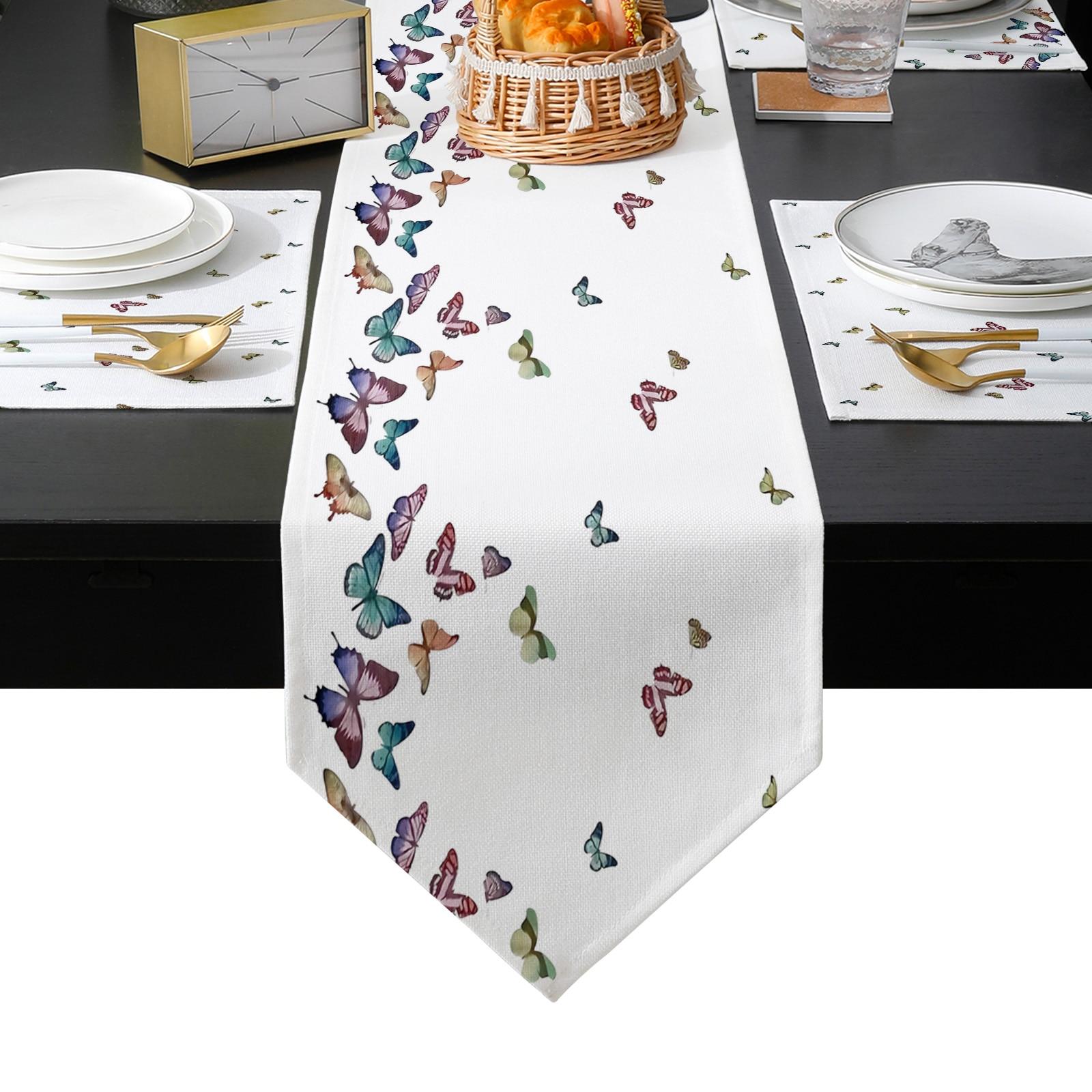 الفراشات الملونة Pring الجدول عداء عطلة المطبخ طاولة طعام العدائين مكان الحصير مجموعة للمنزل ديكور الحفلات
