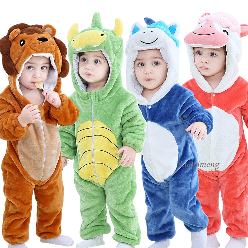 Baby Rompers Winter Kigurumi Lion Costume For Girls Boys Toddler Animal Jumpsuit Infant Clothes Pyjamas Kids Overalls ropa bebes