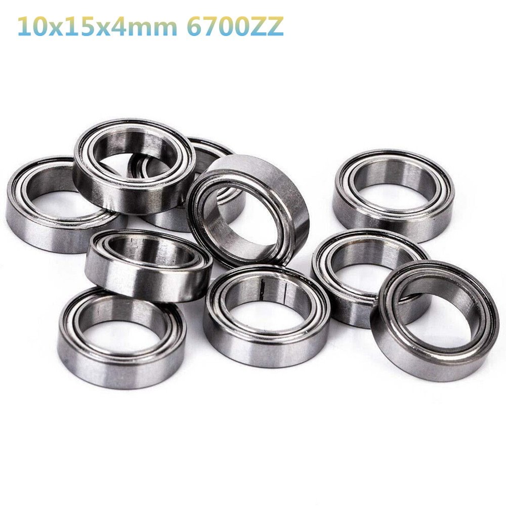 10 rodamientos de bolas de Metal blindados 10x15x4mm 6700ZZ para accesorios de coche de juguete RC