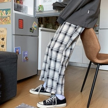 Hong Kong Style Ins Plaid Men's Loose Straight 2021 New Spring Fashion Brand All-Match Wide Leg Casu