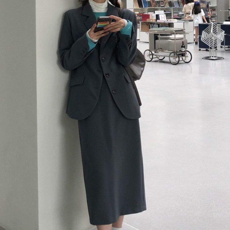 Women Skirt Suit Vintage Casual Loose Suit Western Style Suit Set Women's New Coat Trend In Autumn 2021