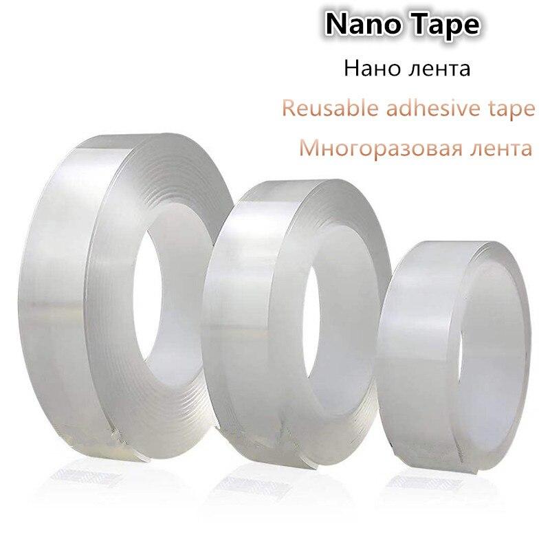 1 рулон многоразовая прозрачная двухсторонняя лента может мыть акриловую фиксирующую ленту нано-лента без следов Волшебная Автомобильная двухсторонняя лента