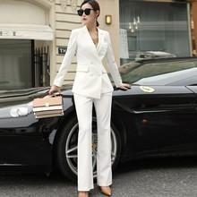 Costume de pantalon daffaires blanc noir des femmes pour le Blazer à Double boutonnage de dames de bureau de femmes avec le pantalon de jambe large