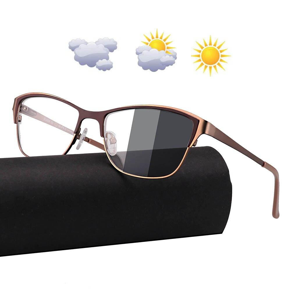 0-0,50-0,75-175-5,5-6 marco de Metal gafas de sol fotocrómicas camaleón lente miopía gafas mujeres miopía gafas