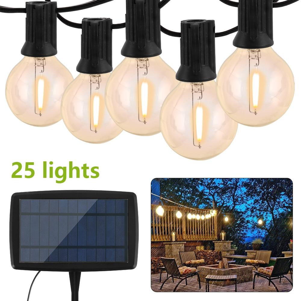 Solar String Lights Outdoor G40 Patio Lights With 25 LED Bulbs 4 Light Modes Weatherproof 130LM LED Hanging String Lights 2700K