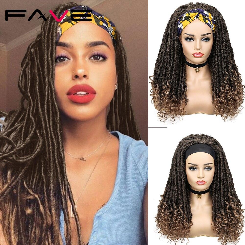AliExpress - FAVE Black Brown Long Dreadlock Synthetic Headband faux locs Wigs With Scarf Braiding Crochet Twist Hair Wigs For Black Women