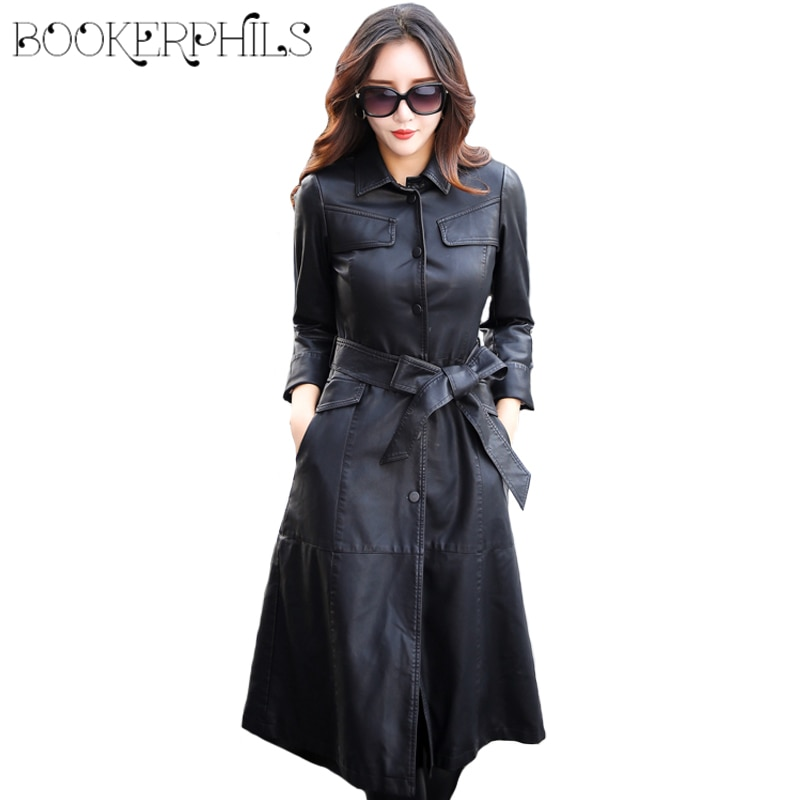 2021 X-Long Women's Leather Jacket Single Breasted Autumn Faux Leather Coat Female Black Winter Overcoat With Belt female costume emberens 4217 striped handsome casual with belt autumn winter российское production delivery from russia