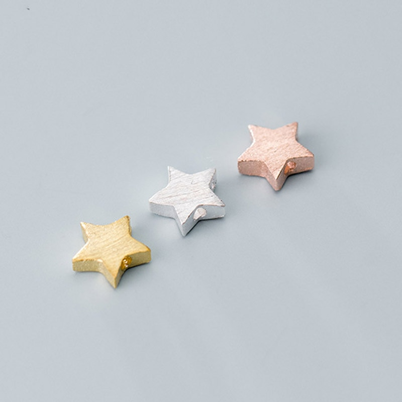 1pcs 925 Sterling Silver Electroplated Gold Drawing Star Spacer Beads 4.5mm 6.5mm Pretty S925 Silver Separator Beads DIY Jewelry