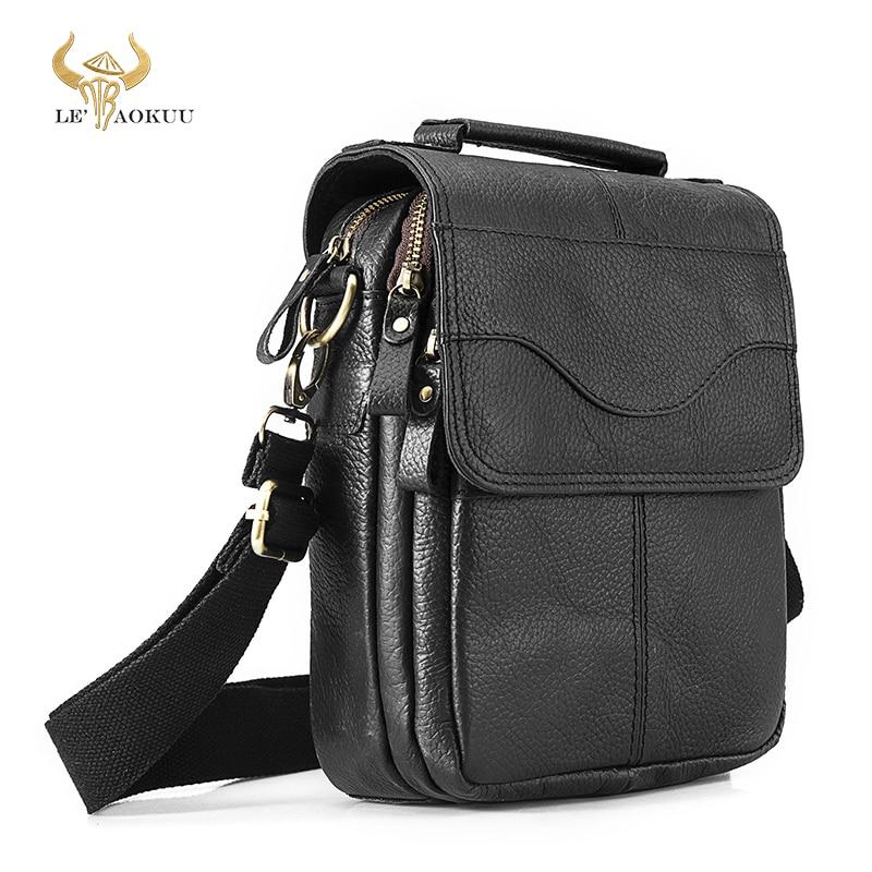 حقيبة كتف جلدية للرجال ، حقيبة كتف ، نمط غير رسمي ، جلد البقر ، حقيبة كتف عصرية مقاس 8 بوصات ، حقيبة حمل Mochila ، حقيبة 144-b