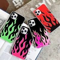 fashion flame pattern transparent phone case for huawei p20 p40 lite p30 pro p smart 2019 honor 10 10i 20 lite clear cover