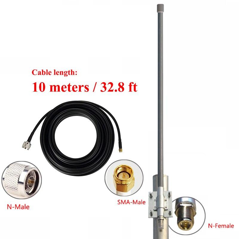 868MHz 915mhz اومني هوائي بألياف زجاجية 10dBi في الهواء الطلق سقف مراقب مكرر UHF تتفاعل لوراوان مينر هوائي 10 متر كابل
