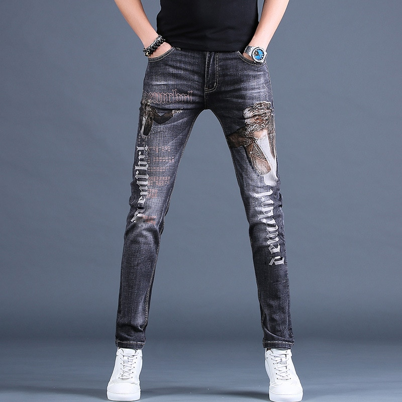 2021 Stylish High Quality  Elastic Washed Denim Printed Jeans, Light Luxury Slim-fit Casual Jeans,Young Boys Must