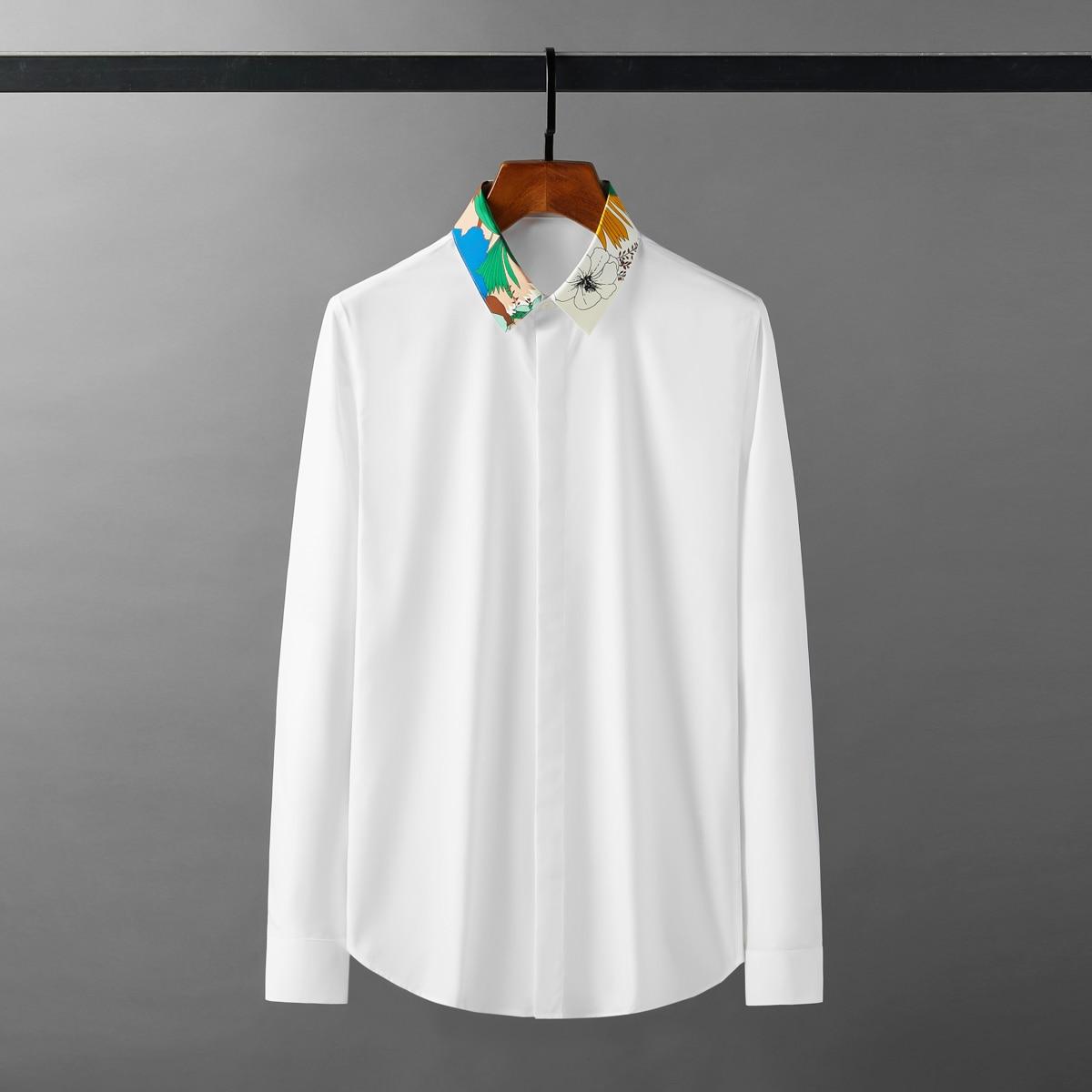 قمصان رجالي بياقة مطبوعة من Minglu قمصان رجالي فاخرة طويلة الأكمام للحفلات قمصان ضيقة تناسب ملابس الشارع الشهير قمصان سهرة رجالية مقاس كبير 4XL