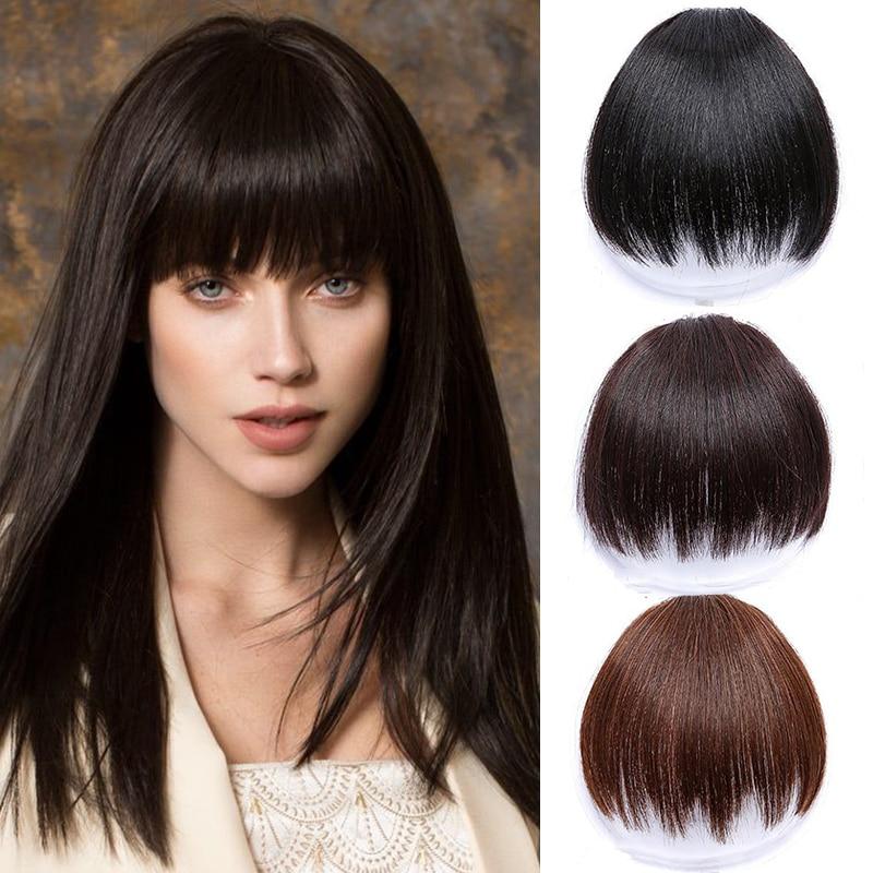 HOUYAN Women's Bangs Synthetic Wig Clip In Hair Accessories Natural Black Brown High Temperature Hair