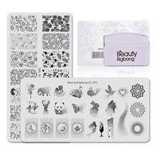 Beautybigbang ongle estampage ensemble de plaques 2 modèle + Stamper gratter point lapin Panda mer étoile feuille ongles Art ensemble XL-072 001 timbre