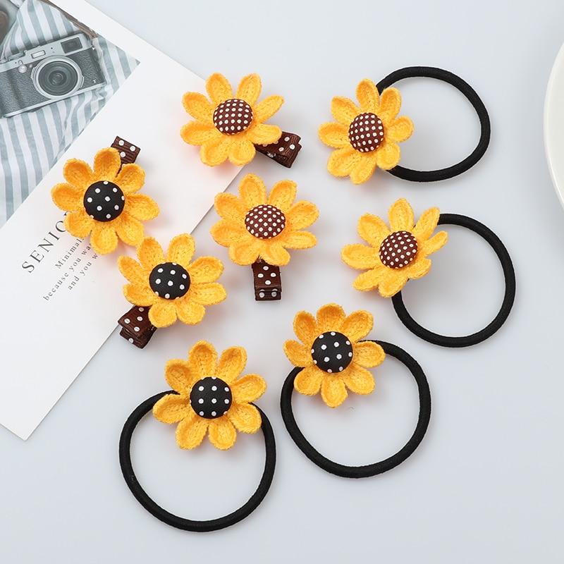 Horquillas de girasol 2 uds., accesorios para el cabello elásticos, banda de goma para el cabello para chica con banda para el pelo, accesorios para el cabello