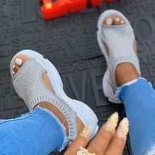 Women Sandals Female Shoes  Summer  Comfortable Sandals Crystal Bling Ladies Slip-on Flat Sandals Wo