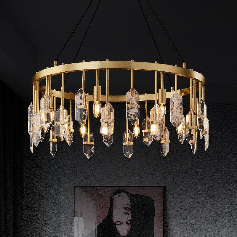 ثريا LED فاخرة ما بعد الحداثة ، ثريا إبداعية ، كريستال نحاسي ، ثريا معلقة لغرفة المعيشة ، غرفة النوم ، E14 ، غرفة الطعام ، الفيلا ، الردهة