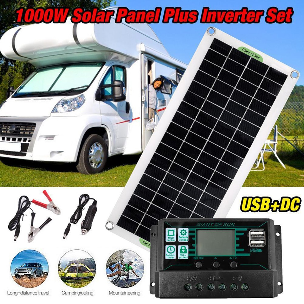 30W RV Boat Solar Panels Kit with Charge Controller Solar Inverter for Home Boat 60A 100A Portable Power Generator new portable solar panels charging generator power system home outdoor lighting for led bulb