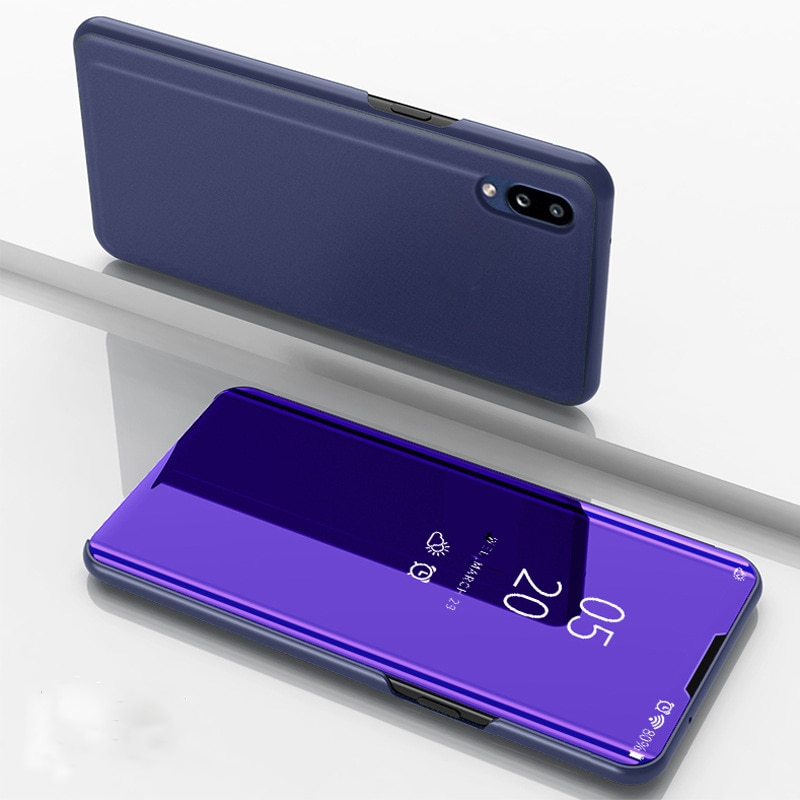 CCTHiedra Smart Mirror funda para Samsung Galaxy A50 fundas de teléfono A40 A60 A70 A80 A90 Funda de cuero de lujo con tapa cobertura completa 360 Coque