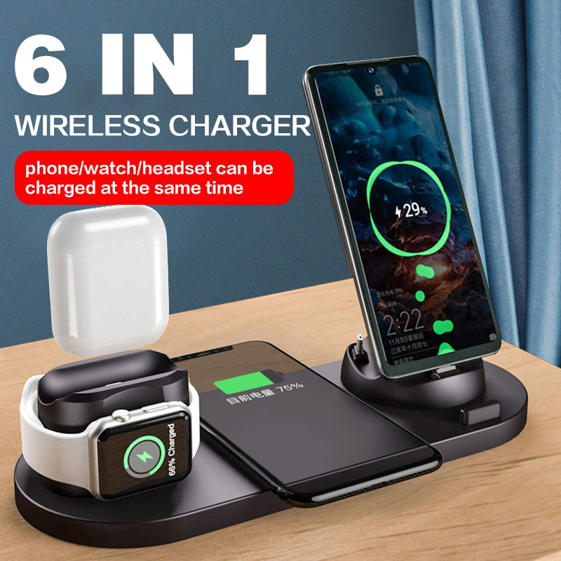10W Qi Wireless Charger Station 6 in 1 For Iphone Airpods Micro USB Type C Stand phone Chargers For