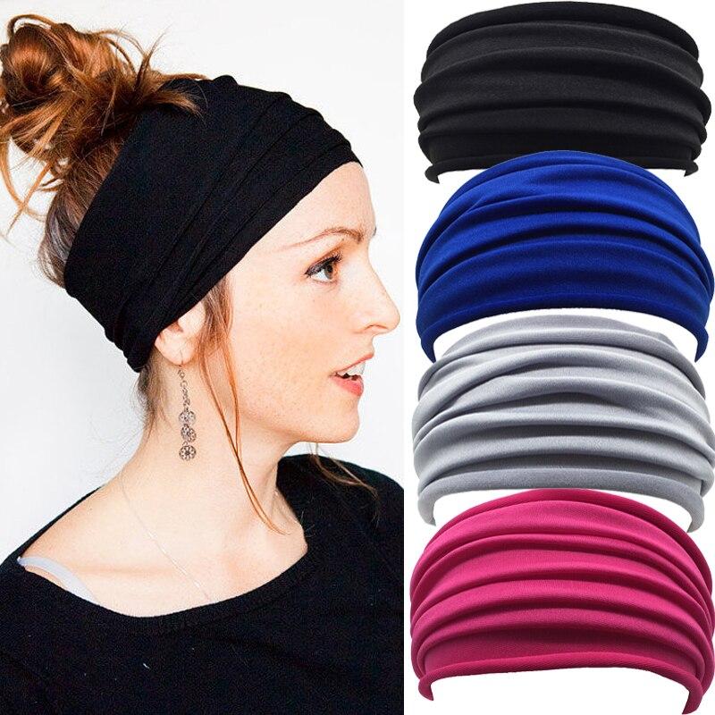 Wide Stretch Headbands Sport Yoga Gym Headband Hairband Head Bands for Women Elastic Head Wrap Band  Bandanas elastic lacework wide sport headband