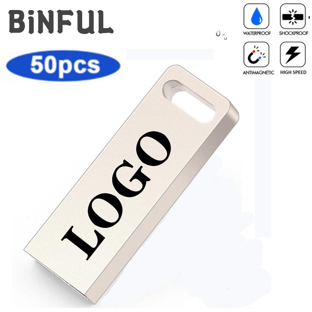 BiNFUL 50pcs Metal waterproof PenDrive USB 2.0 Usb Flash Drive 1GB 2GB 4GB 8GB 16GB 32GB Pen Drive Flash Memory Card Print LOGO