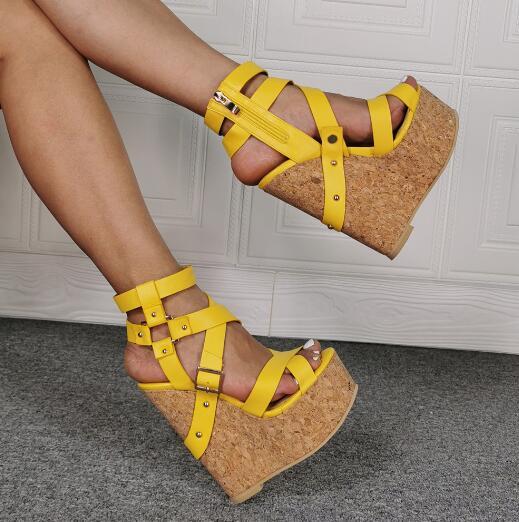 Dipsloot, sandalias de cuña de plataforma con remaches amarillos a la moda para mujer, con cremallera, bandas cruzadas, Punta abierta, sandalias para discoteca, zapatos para mujer