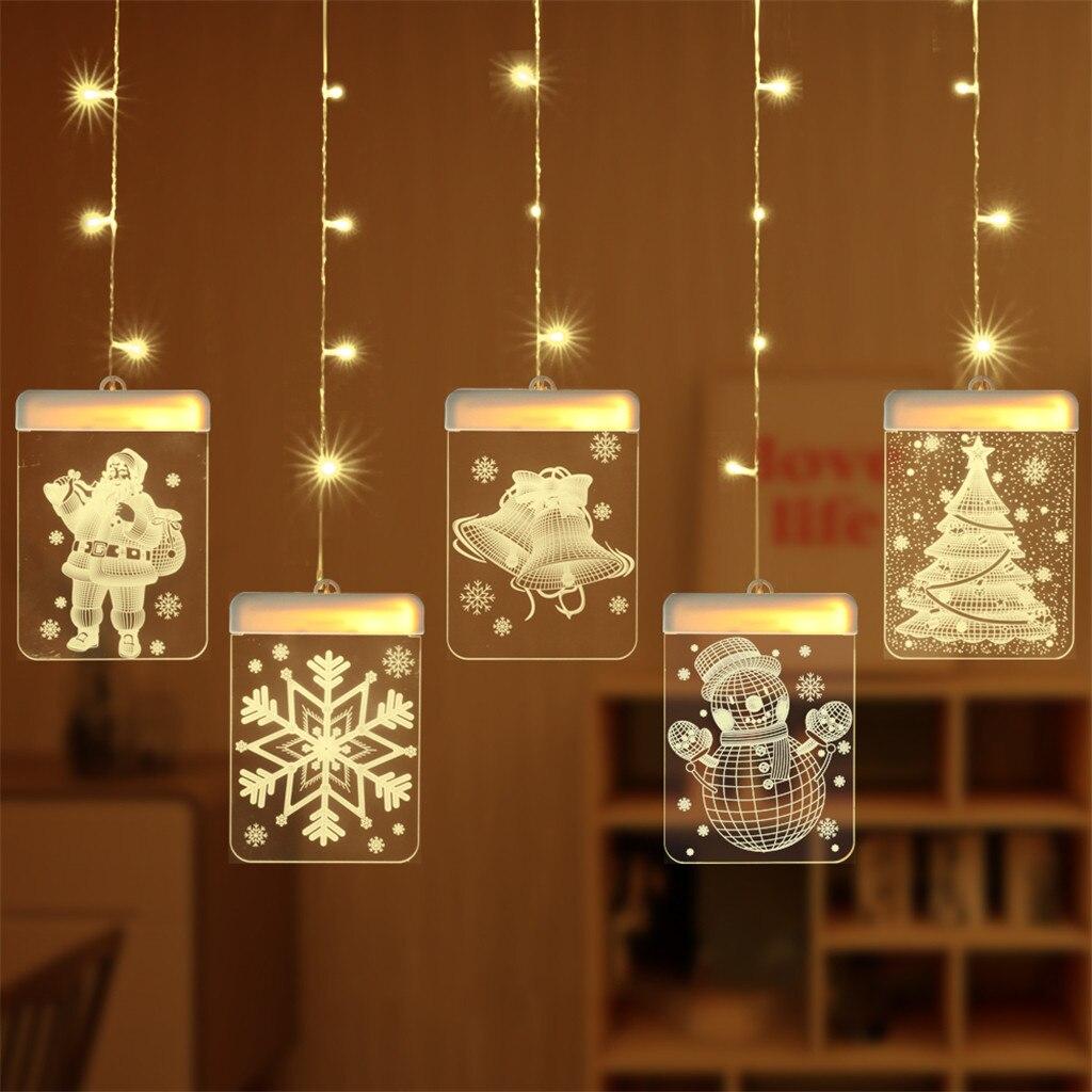 Lámparas de Navidad acrílicas blancas cálidas vacaciones signo lámpara de noche 3D Santa Claus campana copo de nieve LED Navidad ventana luces decorativas # T1G