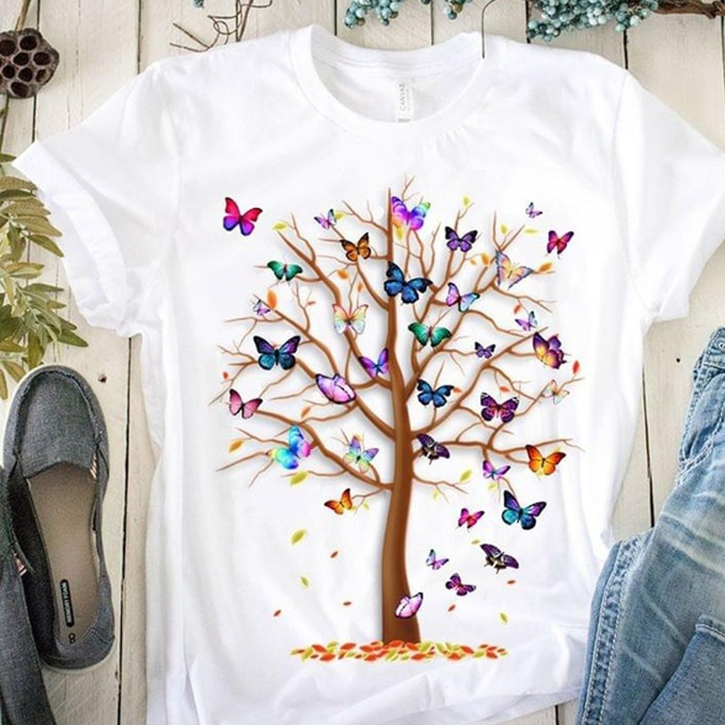 Woman Butterfly Tree Print Harajuku Summer Tshirts Casual Round Neck Short Slee Top Tee Shirt,Drop Ship