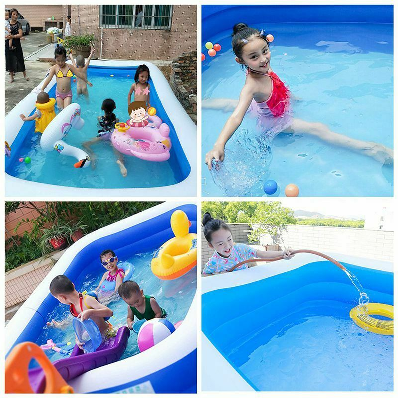 110/128/155/ Rectangular Inflatable Swimming Pool Paddling Pool Bathing Tub Outdoor Summer Swimming Pool Adults Kids Water Pool enlarge